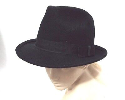 New English Classic Gentleman Black 100% Wool Fedora Trilby Hat XS S M L XL
