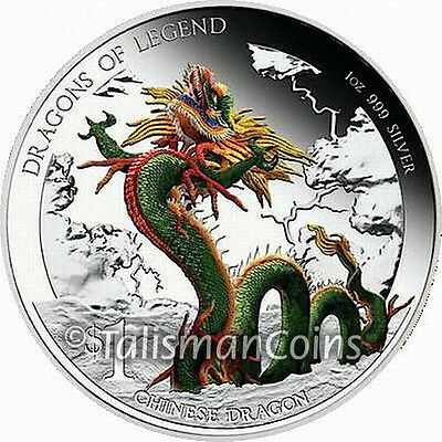 Tuvalu 2012 Dragons of Legend 2 Chinese Dragon $1 Pure Silver Proof with Color