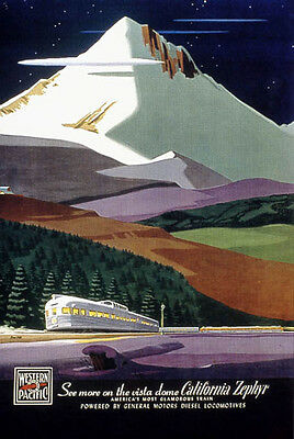 "Western Pacific- California Zephyr - 24""x36"" Vintage Travel Poster on Canvas"