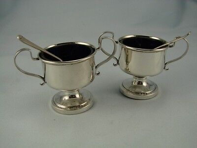 Beautiful Pair Of Solid Silver Trophy Style Salts & Spoons - Blue Glass Liners