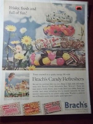 1962 Vintage Print Ad Brach's Candy Refreshers 10X13 A Quick Energy Lift Mints