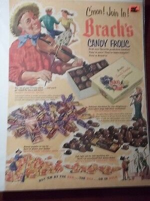 1952 Vintage Print Ad Brach's Candy Frolic 10X13 Halloween Dancing And Fiddle