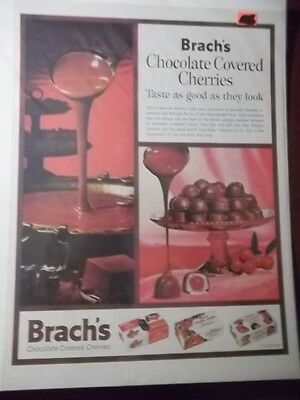 1961 Vintage Print Ad Brach's Chocolate Covered Cherries Candy 10X13