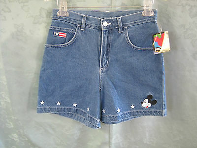 VTG 80's NWT Jerry Leigh Mickey Mouse High Waist Denim Shorts Size 5 / 6