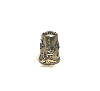 Collectible Thimble Sterling Silver Longtailed Mouse on Pewter Thimble Gift NEW