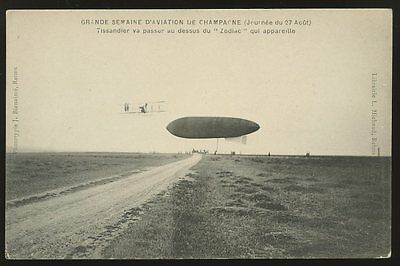 AVIATION 1909 Champagne Reims Aviation Week Zodiac Airship Tissandier early PPC
