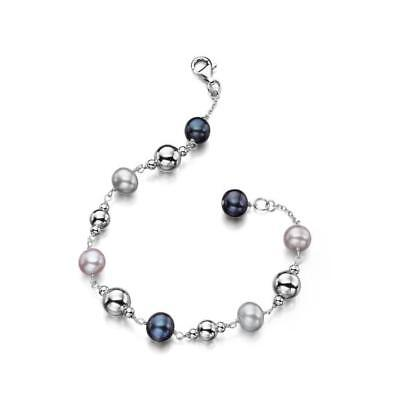 Multicoloured Pearl and 925 Sterling Silver Beads Bracelet