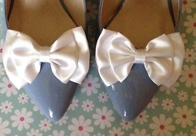 1 Pair Ivory Satin Bow Shoe Clips Vintage Style Glamour Bows 40's 50's Bridal