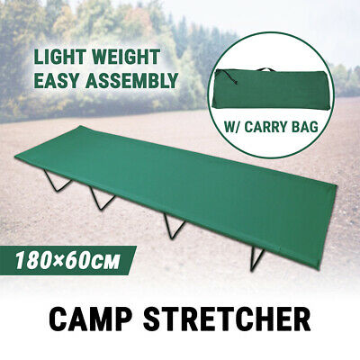 Single Camp Stretcher Cot Bed Foldable W/ Bag Tents Camping Sleeping