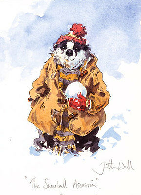 Funny Badger in the Snow Christmas cards pack of 10.C428x Snowball Assassin