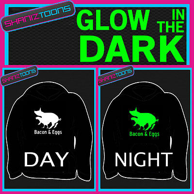 Bacon & Eggs Funny Slogan Adults & Childrens Glow In The Dark Hoodie Hoody