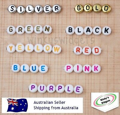 10 x Alphabet Letter beads - round 7mm - You choose specific letters and colours