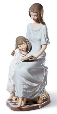 Lladro Porcelain Bedtime Story Figurine Ornament 01005457 Mother and Daughter