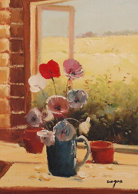 """Hand Painted Oil Painting on Flat Canvas 12""""x16""""-Bouquet on the Windowsill"""