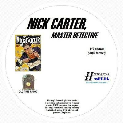 NICK CARTER, MASTER DETECTIVE - 112 Shows Old Time Radio In MP3 Format OTR 1 CD
