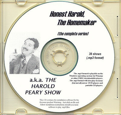 "HAROLD PEARY SHOW ""HONEST HAROLD"" - 38 Shows Old Time Radio MP3 Format OTR 1 CD"
