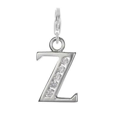 925 Sterling Silver Crystal Alphabet Letter A - Z Charm on Clip