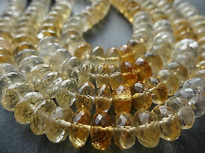 "HAND FACETED CITRINE 8.5mm rondelle beads, 8"", approx 38"