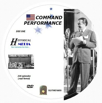 COMMAND PERFORMANCE - 226 Shows Old Time Radio MP3 Format OTR 2 DVD *HI QUALITY*