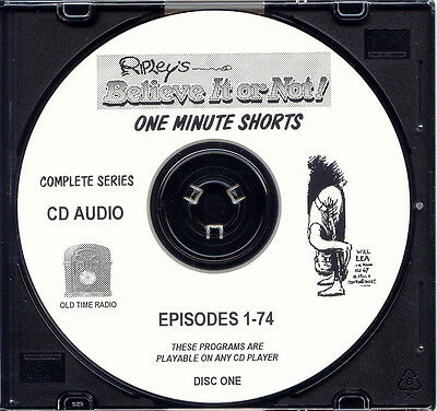 RIPLEY'S BELIEVE IT OR NOT SHORTS - 416 Episodes Old Time Radio OTR  6 Audio CDs