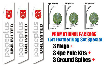 3 sets of 15/' TMOBILE SWOOPER FEATHER FLAGS KIT with poles /& spikes T-mobile