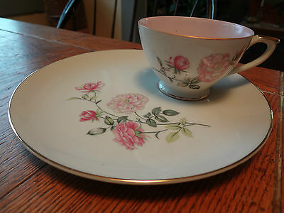 Vintage Lefton China Snack Lunch Plate & Tea Coffee Cup-PINK ROSES-NE2108