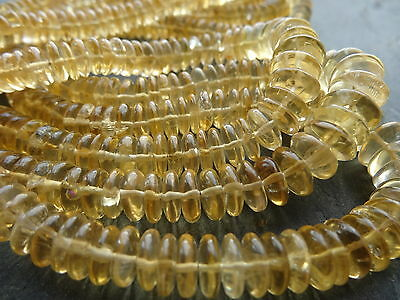 HAND SHAPED CITRINE 6mm - 11mm rondelle beads, 16""