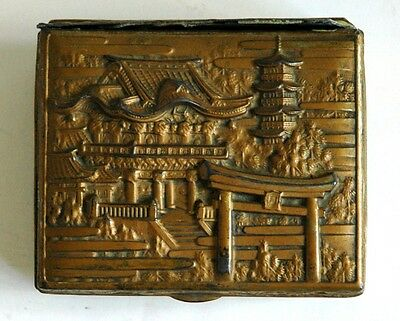 Vintage Asian Chinese Metal or Brass Hinged Trinket Box With Pagoda Decorations