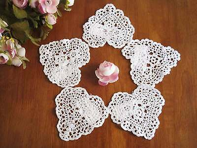 FIVE Chic Hand Crochet Heart Shape Cotton Doily White 4""