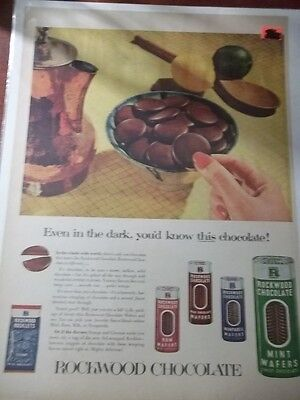 1953 Vintage Print Ad Rockwood Chocolate Candy 10X13 Coconut Rocklets Rum Wafers