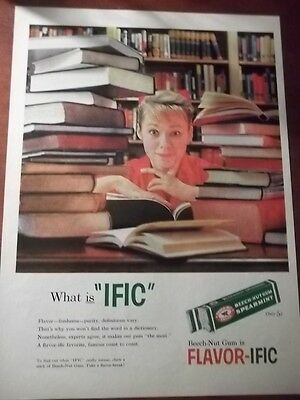"1958 VINTAGE PRINT AD FOR BEECH-NUT GUM WHAT IS ""IFIC"" 10X13 GIRL WITH BOOK PILE"