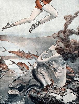 Vintage French Fantasy Legs Art Deco Mermaid Hair *Canvas* Print - Free Shipping
