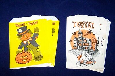 Lot of 20 Vintage Halloween Paper Treat Bags JOL Scarecrow Haunted House Witch