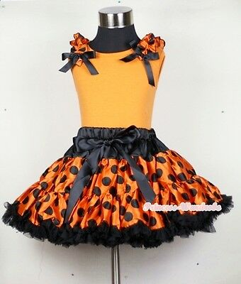 Halloween Orange Black Dots Pettiskirt Dress Matching Ruffle Bow Orange Top 1-8Y