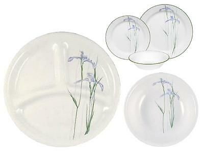 """Corelle SHADOW IRIS 8 1/2"""" DIVIDED Lunch Luncheon PLATE Purple Floral *New Rare"""
