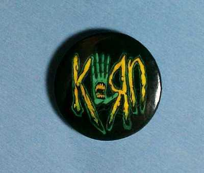 "Korn Black Green Yellow Mouth In Hand Band 1"" Music Pin Button Pinback"