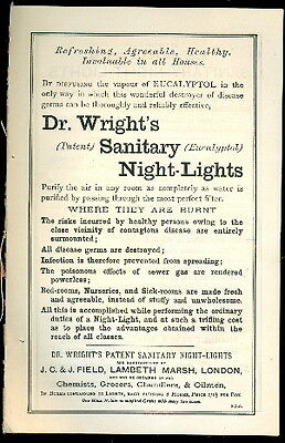 c1885 Dr. Wright's Sanitary Lights London Medical Leaflet Pulmonic Candles