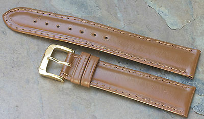 Vintage watch strap 18mm tan water-resistant leather Speidel USA new old stock