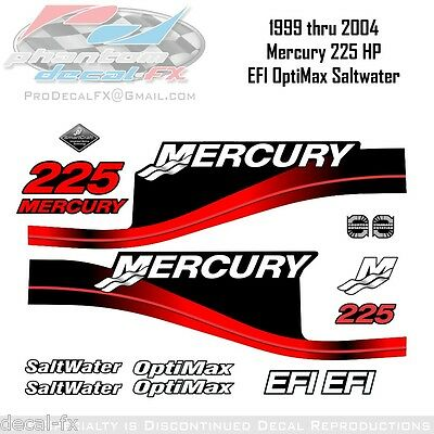 1999-2004 Mercury 225 HP Red Decals EFI OptiMax Saltwater 15pc Repro Outboard