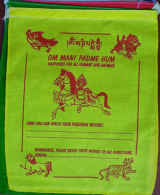 """""""Personal Wish"""" Prayer Flags FIVE 10 x 8 Sheets Windhorse Lung-ta 100% Cotton"""