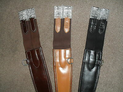 Reduced To Clear! Quality Padded Elasticated Anti Chafe Leather Girth 3 Colours
