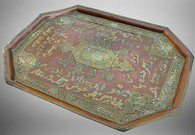 antik Kupfer tablett  Antique Islamic Copper Inlaid BrassTray persian script B