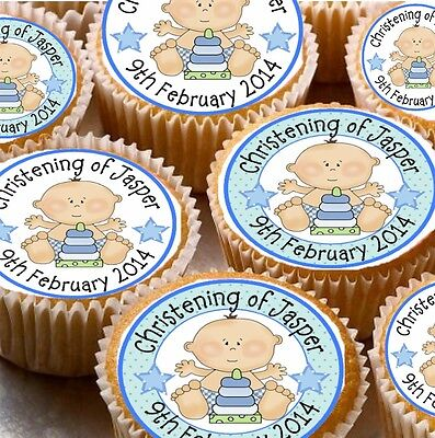 24 Personalised Christening Rice Paper Cup Cake - Fairy Cake Toppers X24