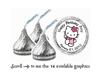 108 Personalized Hello Kitty  Birthday Hershey Kiss Candy Labels Wrappers