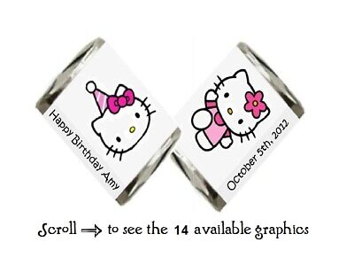 30 Personalized Hello Kitty Birthday Hershey Nugget Candy Labels Wrappers
