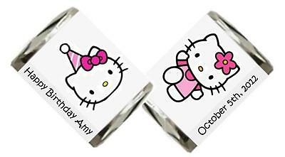 60 Personalized Hello Kitty Birthday Hershey Nugget Candy Labels Wrappers
