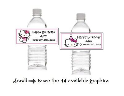 10 Personalized Hello Kitty Birthday Water Bottle Label Wrappers