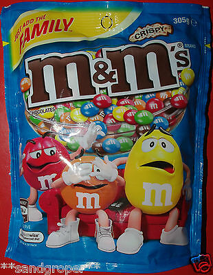 AUSTRALIAN CHOCOLATE CRISPY M&M's 1 x 305g FAMILY SHARE PACKET M&Ms