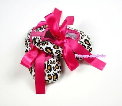 Infant Baby Toddler Hot Pink Leopard Girl Crib Soft Flat Shoe with Ribbon 0-18M