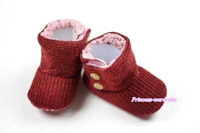 Raspberry Wine Red Newborn Baby Toddler Infant Crib Shoes Sparkle Boots 6-24M